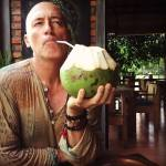 Jim sipping coconut